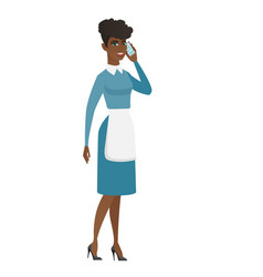 cleaner talking on a mobile phone vector image
