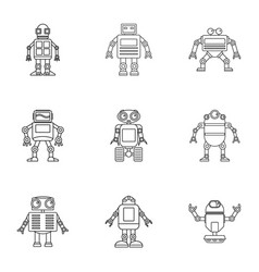 robot icons set outline style vector image
