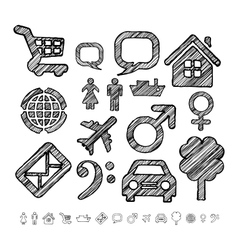 Group of icons for infographic in doodle style vector