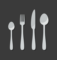 cutlery icons in flat style vector image