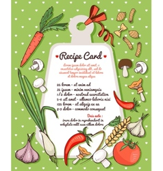 Recipe card with fresh vegetables and pasta vector image