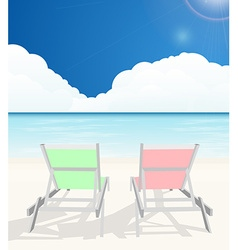 Deck chairs on beach vector