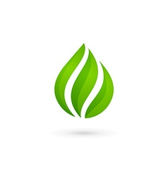 Water drop eco leaves logo design template icon vector