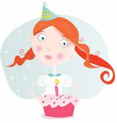 small girl with cake vector image