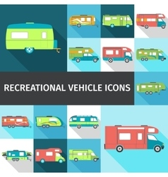Recreational vehicle flat icons vector