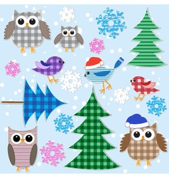 winter owls vector image