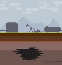 Nodding donkey oil production vector image