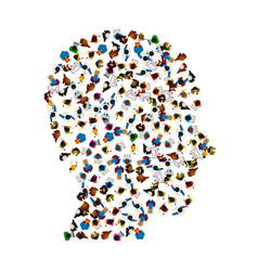 a group of people in a shape of head icon vector image