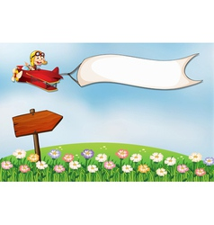 An empty white banner and an arrow board at the vector image vector image