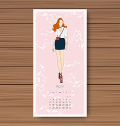 April hand drawn fashion models calendar 2016 vector