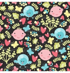 Baby and birds seamless background vector
