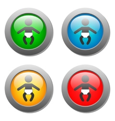 Baby icon set on glass buttons vector