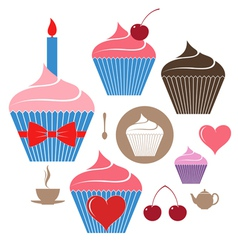 Birthday cake Icon set vector image
