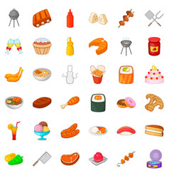 Buffet table icons set cartoon style vector