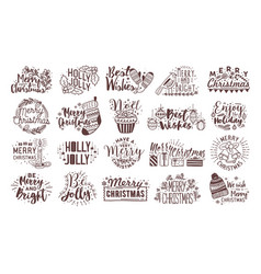 bundle of christmas handwritten lettering vector image vector image