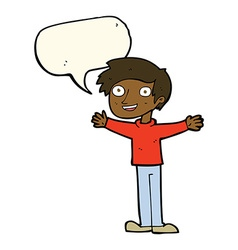 Cartoon enthusiastic man with speech bubble vector