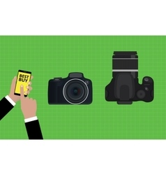 choose and buy the best camera slr vector image