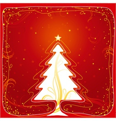 Christmas card with one tree vector