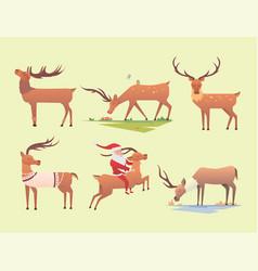 christmas reindeer holiday mammal deer xmas vector image vector image