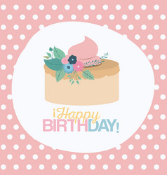 Color pastel background with dots and cake happy vector