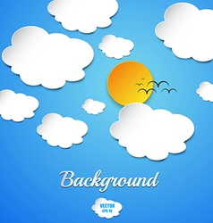 cut paper sun and clouds vector image