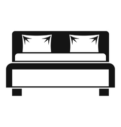 Double bed icon simple style vector