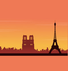 eiffel tower scenery silhouette backgrounds vector image