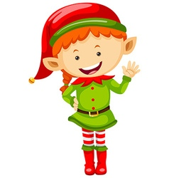 Female elf in green outfit vector image vector image
