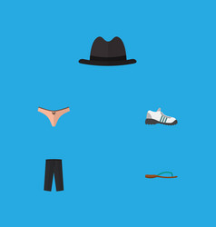 Flat icon dress set of beach sandal lingerie vector