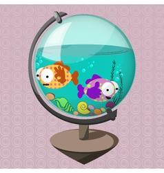 Funny fish in globe-aquarium vector