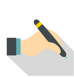 Hand holding black pen icon flat style vector