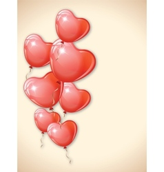 Heart shaped red balloons vector