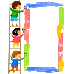Kids painting a frame vector