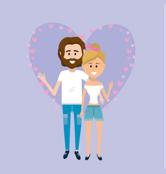 nice couple together with heart design background vector image