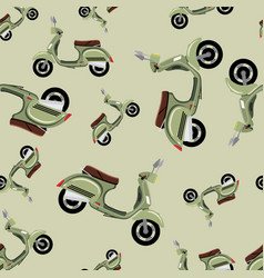 pattern with retro motorcycle in green color vector image