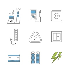 Power energy eco friendly icons vector image vector image
