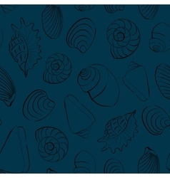Seashells blue seamless background vector