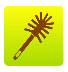 Toilet brush doodle brown icon at green vector