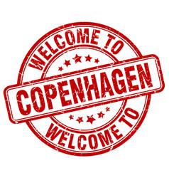 Welcome to copenhagen red round vintage stamp vector