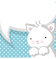 White cute little kitty baby blue backdrop vector