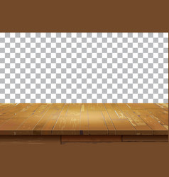 Empty wooden table top isolated background vector