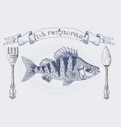 Fish restaurant banner with crucian carp vector