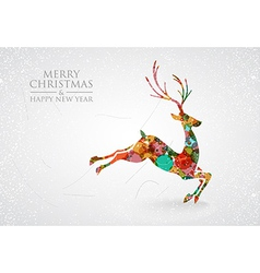 Merry christmas colorful reindeer greeting card vector