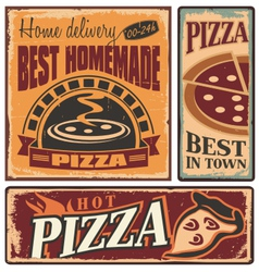 Pizzeria retro metal signs set vector