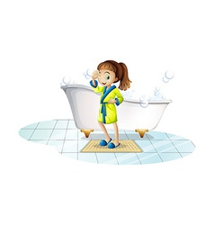 Girl and bathtub vector