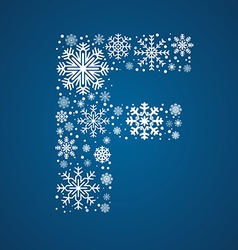 Letter f font frosty snowflakes vector