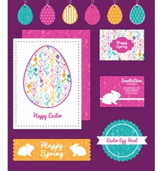 Colorful tulip flowers set of easter cards vector