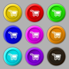 Shopping cart icon sign symbol on nine round vector