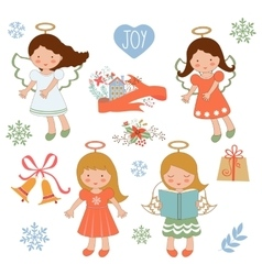 Cute christmas collection with happy angels and vector