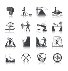 Expedition icons black set vector